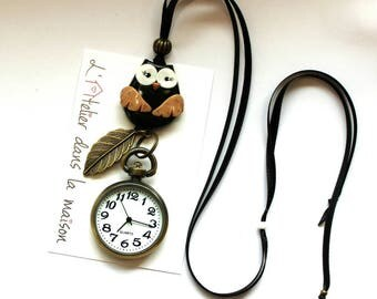 OWL necklace with leaf black and bronze OWL pocket watch