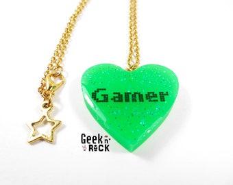 Geeky Gamer necklace - Neon glitter gamer video game nerd heart