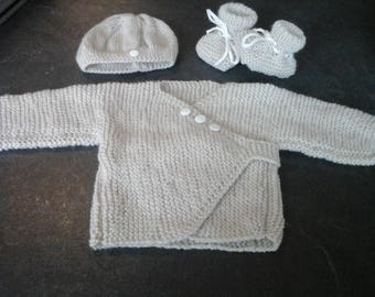grey vest set hides heart and hat and booties