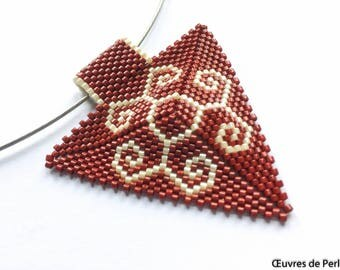 Seed beads jewelry set of Miyuki pendant in brown and ivory Beadweave pendant Beaded pendant gift for her