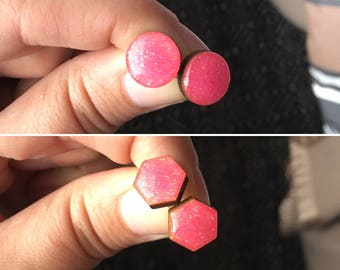12mm Pink Glitter Bamboo/Resin Stud Earrings • Hexagon • Round • Surgical Steel • Hypoallergenic • Neon