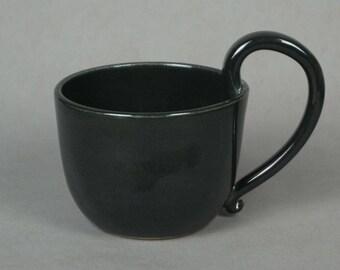 High handle mug, black -- Handmade stoneware ceramics