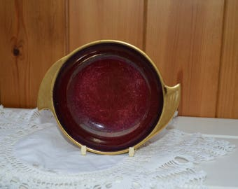 Carlton Ware Rouge Royal pin dish/coin dish/1950s pottery/ vintage deep red with gold edge/ships worldwide