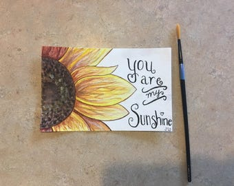 Handpainted sunflower postcard