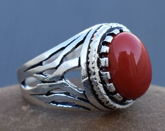 Red Coral Ring | Indian tribal stone ring | Birthday party wear rings | Anniversary gemstone jewelry for wife | Silver plated rings | R250