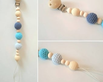 Pacifier hook and wood beads organic natural blue color