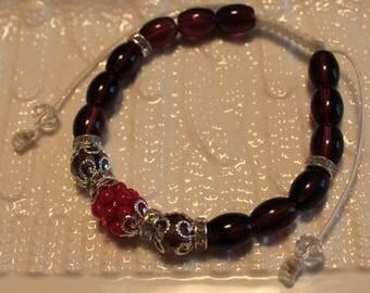 Beautiful Glass & Crystal beaded bracelet in purple, pink and champagne-hues; handmade, shamballa,beadweaving, cute, casual-wear, party-wear
