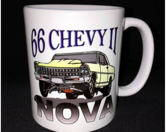 Hot Rod, Custom Car Coffee Mug, Street Rod, Roadster, 66 Chevy Nova, Chevy II