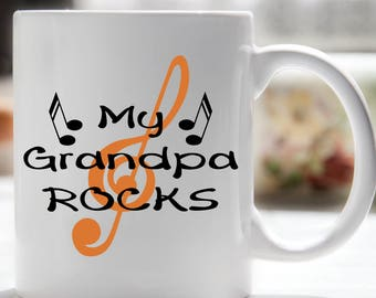 Grandpa Mug, Grandpa Coffee Mug, My Grandpa Rocks, Grandparents Day
