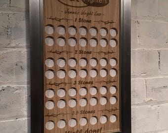 Personalised Weight Loss Tracker Goal Board up to 3 stones. Add your name and for every pound you lose place a pound coin on the board!