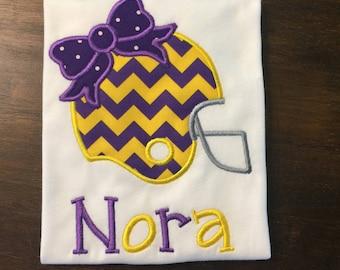 LSU Football Shirt // Louisiana State University Shirt // Girl's Football Shirt // Monogrammed Sports Shirt // Football Shirt for Girls