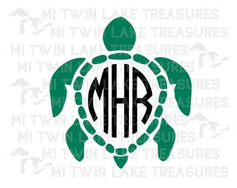 Turtle Monogram SVG, PNG, Studio.3, Instant & Digital Download, For Silhouette and Cricut, Home, DIY, Beach, Personal and Commercial Use
