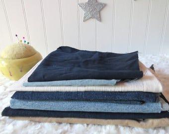 Fabric Destash #3, Denim and Corduroy Grab Bag, Craft Fabric, Denim Scrap Fabric, Craft Denim
