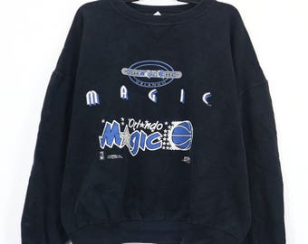 Vintage ORLANDO MAGIC NBA National Basketball Association Jumper Sweater Spell out Embroidery Big Logo Sweatshirt Pullover Size XLarge