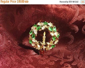 ON SALE stunning rare gold plate and enamel figural wreath brooch
