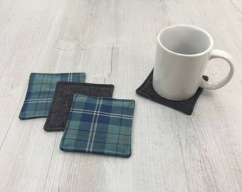 Tartan fabric coasters, denim fabric coasters, reversible coasters, drink mats, mug rugs, desk decor, tableware