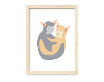 Cats Print - Wall Art - A4