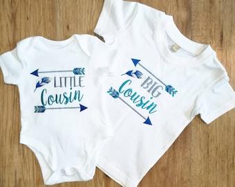 Boys Big Cousin t-shirt, little Cousin bodysuit, big cousin, little cousin, cousin gift , baby cousin, new cousin, new baby gift, baby boy