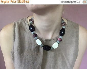 20% OFF SALE... chunky beaded necklace | leather necklace