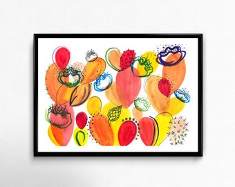 Afternoon Blooms - Original Abstract Watercolor Prickly Pear Cactus Painting Home Decor Desert Art Southwestern Modern 8 x 10