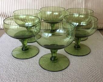 Vintage Green Sherbet Glasses, Set/6, 1960s Green Champagne Crystal Glasses