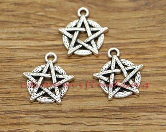 25pcs Pentagram Charms Five-pointed Star Charms Antique Silver Tone 18x20mm cf3304