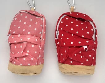 Mini Backpack Back to School Accessories Sticky Note Holder Eraser Bag Planner Accessories Red Dots  Pink Polka Dot