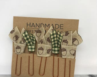 Harvest Plaid Planner Clips School Supplies Ribbon Acorns Plaid Paper Clips Back to School or Home Office Bookmarks Planner Accessories