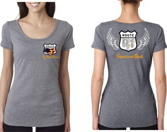 Deep Scoop Neck Vegas Strong Route 91 with names and angel wings - Woman Next Level Shirt
