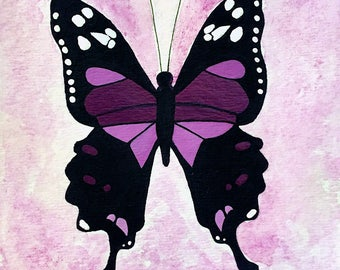Purple Butterfly Painting, Abstract Butterfly, Watercolor Buttefly, Summer Home Decor, Butterfly Decor, Nursery Painting