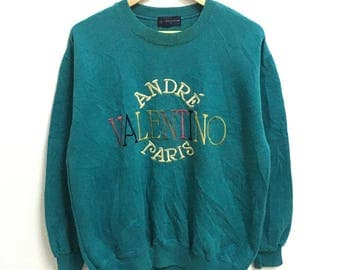 RARE!!! Andre Valentino Paris Big Logo Embroidery Multicolour Crew Neck Sweatshirts Hip Hop Swag L Size