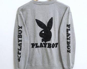 RARE!!! Playboy Big Bunny Embroidery Crew Neck Grey Colour Sweatshirts Hip Hop Swag M Size