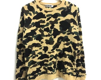 RARE!!! Bathing Ape Camouflage Crew Neck Fullprint Design Sweatshirts Knitwear Hip Hop Swag L Size