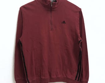 RARE!!! Adidas Equipment 3 Stripes Small Logo Embroidery Half Zipper Red Colour Sweatshirts Hip Hop Swag S Size