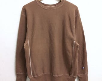 RARE!!! Champion Reverse Weave Crew Neck Brown Colour Sweatshirts Hip Hop Swag XL Size
