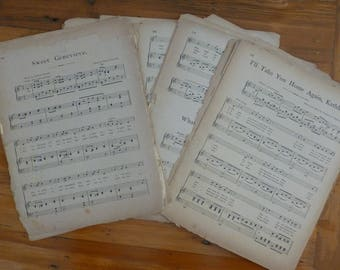 Vintage Sheet Music Paper Ephemera Pack, Mixed Media Vintage Papers