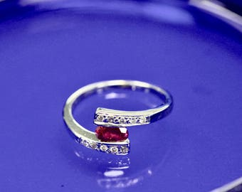 18K White Gold Ruby and Diamond Ring - Size 6.5