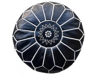 Black Morrocan Leather Pouf