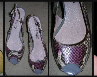 Original vintage 80's mixed taupes stunning snakeskin slingback wooden veneer high heel designer shoes by Rebeca Sanver (m/in Spain) EUR. 38