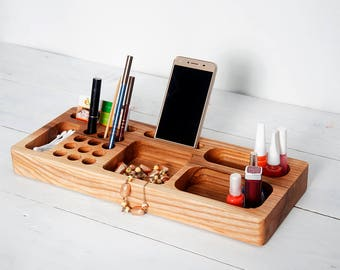 Ash Wood Makeup Organizer, Cosmetic Organizer, Makeup Brush Holder, Organizer for Woman, Beauty Station, Accessories Rack, Unique Gift