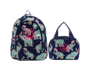 Rosey Elephant backpack and lunch bag set