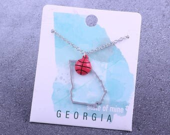 Customizable! State of Mine: Georgia Basketball Enamel Necklace - Great Basketball Gift!