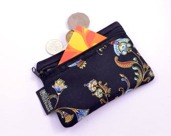 Small black Fabric coin purse, Egyptian pattern , red, blue with metallic gold highlights gift/business card holder zipper pouch
