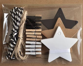 26-piece Stars giftwrapping kit, kraft black and white, small giftwrap kit, mini clothespins, star gift tag set, kraft paper, bakerstwine