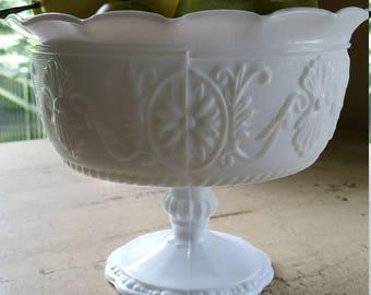 Milk Glass Pedestal Bowl; Fruit Bowl; Candy Dish; Wedding Decor