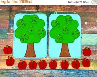 Summer Sale Apple Tree Addition Game - Math Game - Addition Game - Educational Game - Felt Game