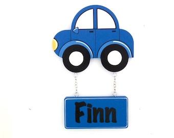 Door Sign, Custom name sign, Kids room sign, Car decor, Kids name sign, Kids room - Car nursery decor