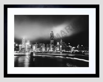 New York Print, Skyline at Night, New York Photography, NYC, Black and White F12X12133