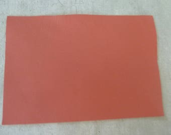 rectangle coral leather 10 x 15 cm, fine and smooth