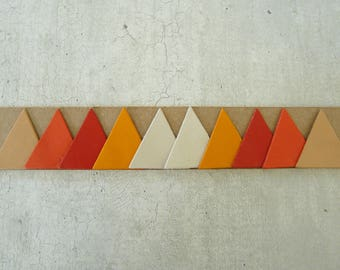 fine leather, 3 cm, 5 colors matched to create 10 triangles